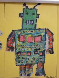 ChumleyScobey Art Room: Kinder Robotic Self-Portraits Projects For Kids, Art Projects, Project Ideas, Robot Art, Robots, Proportion Art, Kindergarten Art, Preschool, Creative Workshop