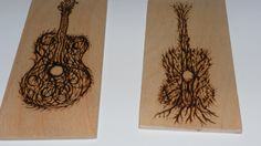 Earthy guitar portrait on birch, mini wall art-pyrography  made to your specs by SignsOFire on Etsy