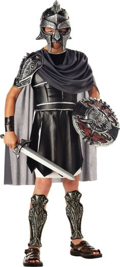 Thumbs up to this Roman Gladiator Costume! Boys Gladiator Costume features a tunic, gladiator armor with cape, shin guards, gauntlets, and a helmet. Hallowen Costume, Halloween Gifts, Halloween Costumes For Kids, Costume Ideas, Halloween Ideas, Halloween 2017, Easter Costumes, Toga Costume, Halloween Masks