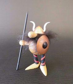 Wikingerfigur Viking vintage wooden figurine scandinvian Design Denmark 50s 50er | eBay