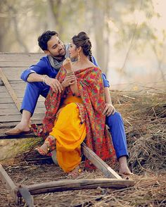 Tere khayalo mein hi guzar jaae zaindagi -- Aksar issi khayal pe aata hai bahot pyaar ❤ Hunny ❤ Punjabi Wedding Couple, Indian Wedding Couple Photography, Wedding Couple Poses Photography, Couple Photoshoot Poses, Couple Posing, Punjabi Couple, Couple Shoot, Photography Outfits, Wedding Couples