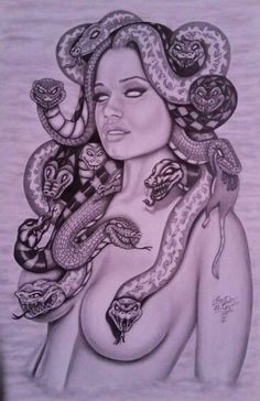 Graphite drawing of my version of Medusa. Medusa Drawing, Medusa Art, Medusa Gorgon, Tattoo Sketches, Tattoo Drawings, Art Sketches, Body Art Tattoos, Sleeve Tattoos, Cool Tattoos