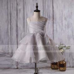 Cute Light Grey Organza Flower Little Girl Dresses, Cheap Flower Girl Dresses, Flower Girl Dresses, VB0812 #flowergirldresses #flowergirl