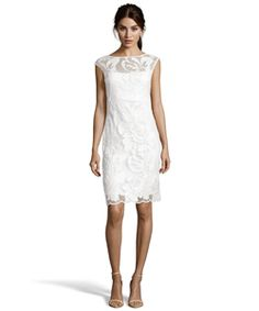 Sue Wong White Sequined Floral Lace Boat Neck Sheath Dress