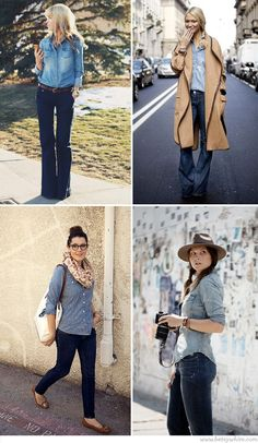 Love the chambray paired with the wide pants and the scarf