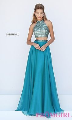 Sherri Hill Long Two Piece High Neck Prom Dress at PromGirl.com
