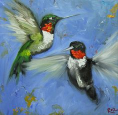 Birds 87 20x20 inch Print from oil painting by Roz by RozArt