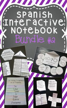 Spanish Interactive Notebook lessons: Nouns, Articles, Gustar, Irregular Verbs, Verb Conjugation Spinners, Weather, Seasons