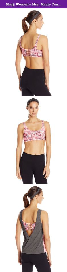 Maaji Women's Mrs. Mazie Tank, Maroon, Medium. Maaji rhapsody road active Mrs. Mazie mixed print two-fer tank with sports bra.