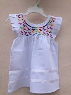 fda83df93 Embroidered baby dress, mexican baby dress, embroidery baby dress, baby  girl dress, oaxacan baby dress, sleeveless baby dress