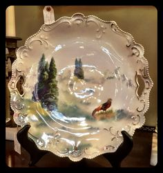 R.S. Prussia pheasant, pine cake plate, $210.  Gaslamp Antiques Too, booth T134.