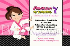 KARATE GIRL invitation  you print  3 to by PrettyPartyCreations