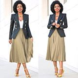 Double Breasted Blazer x Pleated Midi Skirt. Click link in bio for 'fit details.