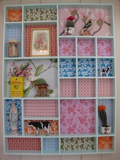 Great idea for tchotchki - More modern, sleek version of printer's drawer. Pinterest Room Decor, Printers Drawer, Colourful Living Room, Craft Box, Diy Wall Art, Diy Storage, Beautiful Interiors, Girl Room, Decoration