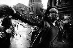Photographer: Anton Corbijn, Bono on Film set (Elevation), Los Angeles, 2001.