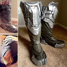 Making Overwatch Hanzo cosplay armored boots!  Starting with drafting patterns shaping in worbla and then finishing with a few layers of gesso (and sanding). Since I was making these Hanzo boots for Blizzcon I made them more to fit my proportions for easier walking. Hanzo has such tiny legs!  Cosplay and props made by us.
