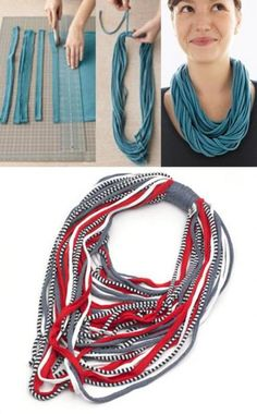 Yarn Necklace, Fabric Necklace, Scarf Jewelry, Textile Jewelry, Fabric Jewelry, Jewellery, Necklaces, Sewing Clothes, Diy Clothes
