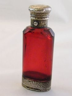 SUPERB SILVER VICTORIAN RUBY GLASS SCENT BOTTLE