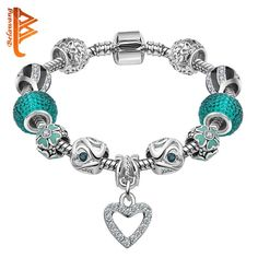 LOVE Silver Plated Heart Charm Bracelet Women Murano Glass Beads Jewelry Original Cuff Bracelets