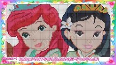 Ariel and Mulan - Disney Princess pattern by Dinha Ponto Cruz
