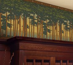 Lands End Wallpaper Frieze installed from Bradbury & Bradbury Art Wallpapers ca. - Lands End Wallpaper Frieze installed from Bradbury & Bradbury Art Wallpapers can be added to furni - Design Crafts, Arts And Crafts House, Arts And Crafts Furniture, Wallpaper, Home Crafts, Landscape Wallpaper, Craftsman Style, Art And Craft Design, Arts And Crafts Interiors