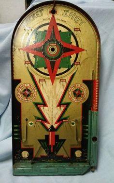 Vintage Antique Lindstrom's Rocket Shot Pinball Arcade Game w Marbles All Orig | eBay