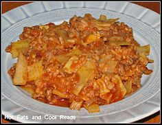 Cabbage Roll Casserole  (1 lb ground meat, onion, garlic, basil, beef broth, tomato sauce, cabbage, instant brown rice, salt/pepper)