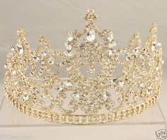 QUINCEANERA LARGE TALL CLEAR CRYSTAL NAVETTE TIARA GOLD...aaahh!! inlove: