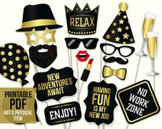 Retirement photo booth props: printable PDF. Retirement party
