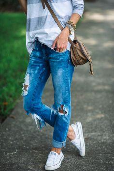 stripe shirt, distressed denim, shoreline sneakers