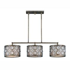 Triarch Lighting Cartier Three Light Kitchen Island Light in Weathered Bronze