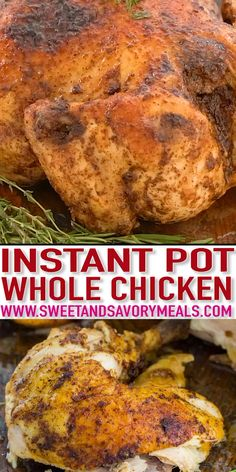 Instant Pot Whole Chicken is juicy, tender and incredibly easy to make. You can make this time-saving recipe with fresh or frozen chicken. pot recipes videos Instant Pot Whole Chicken Recipe - Fresh or Frozen [Video] - Sweet and Savory Meals Instant Pot Whole Chicken Recipe, Best Instant Pot Recipe, Instant Pot Dinner Recipes, Italian Dinner Recipes, Easy Chicken Recipes, Crockpot Recipes, Soup Recipes, Healthy Recipes, Easy Recipes