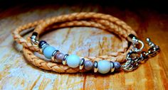 Beaded Leather Wrap Bracelet Frosted Amazonite and by Aerieanna