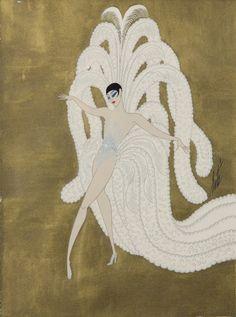 Romain de Tirtoff, dit Erté (1892-1990), Costume pour Zizi au Casino de Paris, gouache et encre sur fond doré, 37 x 27 cm. Estimation : 600/800 €. Vendredi 16 octobre, salle 7 - Drouot-Richelieu. L'Huillier & Associés SVV.