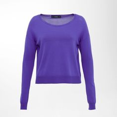 Hallhuber Cropped jumper ($30) ❤ liked on Polyvore featuring tops, sweaters, purple, sale, purple crop top, rayon tops, crop top, hallhuber and long tops
