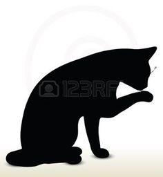 Illustration der Katze Silhouette auf wei�em Hintergrund - in Reinigungs-Klinken Pose photo