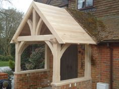 green oak porche, design and build by James Pillier Porche Design, Porch Timber, Beam Structure, Roof Trusses, Barns Sheds, Woodwork, Gazebo, Entrance, Cottage