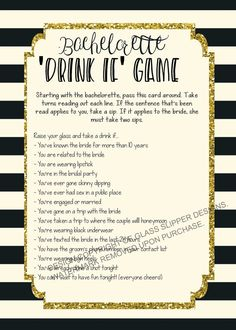 Fill up your cup and get ready to let loose with this bachelorette drinking game! This is guaranteed to get everyone in the mood to have a