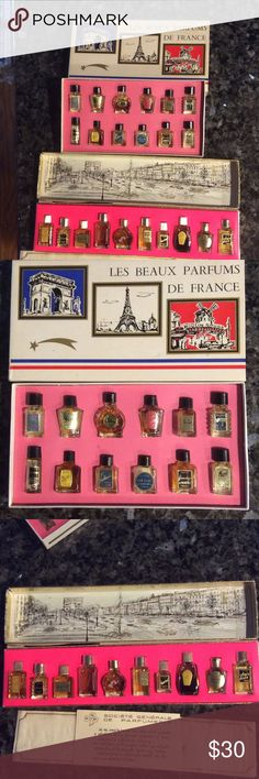 22 Vintage Mini French Perfume Bottles 22 vintage mini perfume samples from France.       Most are full, some have dissipated, two have missing labels.  Bottles are one inch and smaller. Other