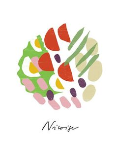French Recipe Salade Niçoise  Food Art / high quality fine art print by Anek.