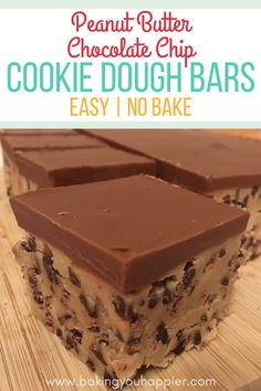 No Bake Peanut Butter Chocolate Chip Cookie Dough Bars, easy to make and irresistible! These addicting egg-free treats will please a crowd year round!