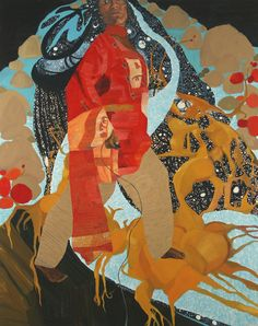 """Off The Edge, Oil on Canvas, 96""""X72"""" 2008 (Collection of The Museum of Fine Arts, Houston) - Mequitta Ahuja"""