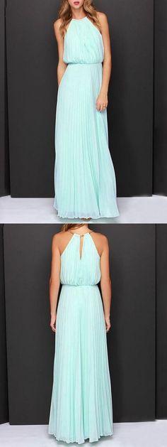 Mint Green Pink Cut Away Pleated Chiffon Maxi Dress
