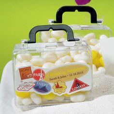 Clear Travel Suitcase Favor Boxes (Set of 6) - Destination Wedding Favor Boxes - Corporate Party Favors