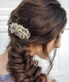 Dried Lavender Babies Breath Hair Comb / Dainty Wedding Floral Comb / Bridal Hair Accessory / Dried Flowers Hair pin clip / Gift for her Lavender Boutonniere, Lavender Bouquet, Lavender Hair, Bride Hair Flowers, Dried Lavender Flowers, Loose Braids, How To Preserve Flowers, Bridal Hair Accessories, Bride Hairstyles