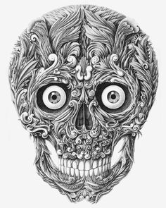 Dip-pen drawn skull by Alex Kohahin.