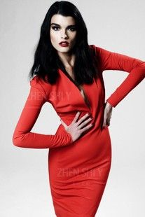 Custom charm elegant red long-sleeved dress haute couture dress comes with stand-up collar Slim was temperament new  $709.68