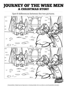 Matthew 2 The Magi Christmas Story Kids Spot the Difference: Add a little holiday cheer to your Matthew 2 Sunday School lesson with this kids Bible activity. See if your kids can spot the difference in this The Magi Christmas Story print out. Beautifully designed and packed with fun your kids will love it!