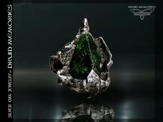 "Raw chrome diopside ring ""Tayga"", druid ring, mens or womens ring."