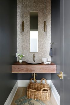 Now it opens on a powder room. Ever since your powder room is smaller than your primary bathroom, it's smart to decide on a sink that's small, yet inc. Tiny Powder Rooms, Modern Powder Rooms, Powder Room Decor, Powder Room Design, Powder Room Lighting, Powder Room Paint, Black Powder Room, Bad Inspiration, Bathroom Inspiration